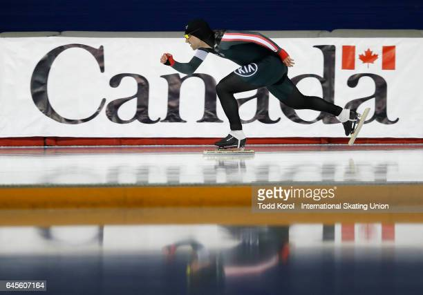Vincent De Haitre of Canada competes in the men's 500 meter race during the ISU World Sprint Speed Skating Championships on February 26 2017 in...