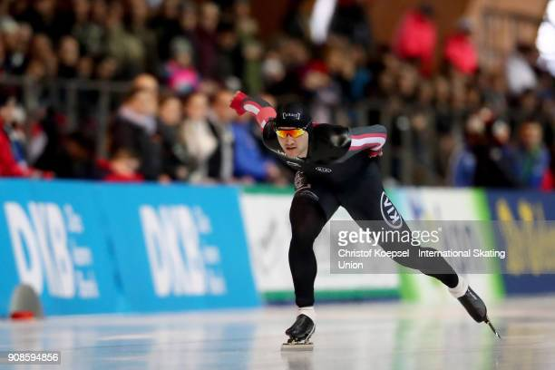 Vincent de Haitre of Canada competes in the second men 1000m Division A race during Day 3 of the ISU World Cup Speed Skating at...