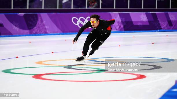 Vincent de Haitre of Canada gets ready to compete during the Speed Skating Men's 1000m on day 14 of the PyeongChang 2018 Winter Olympic Games at...