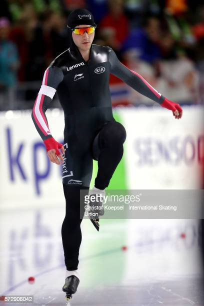 Vincent de Haitre of Canada prepares during the men 1500m Division A race on Day Two during the ISU World Cup Speed Skating at the Thialf on November...