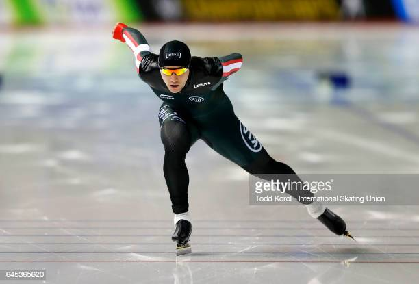 Vincent De Haitre of the Canada skates in the men's 1000 meter race during the ISU World Sprint Speed Skating Championships on February 25 2017 in...