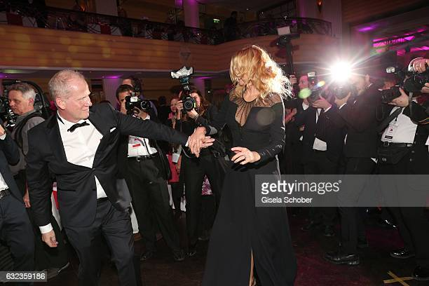 Vincent de la Tour and Veronica Ferres dance during the 44th German Film Ball 2017 party at Hotel Bayerischer Hof on January 21 2017 in Munich Germany
