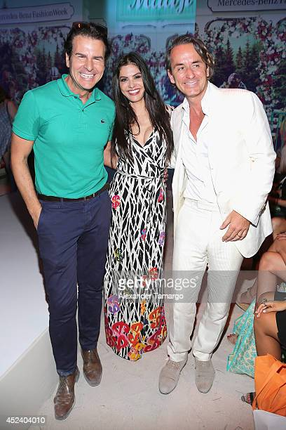 Vincent De Paul Adriana de Moura and Frederic Marq attend the Maaji show during MercedesBenz Fashion Week Swim 2015 at The Raleigh on July 19 2014 in...