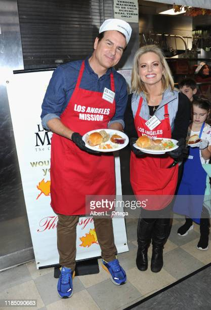 Vincent de Paul and Courtney Friel attend the Los Angeles Mission Thanksgiving For The Homeless held at Los Angeles Mission on November 27 2019 in...
