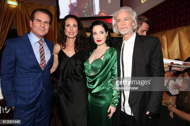 Vincent De Paul Andie MacDowell Dita von Teese and Hermann Buehlbecker during the 20th Lambertz Monday Night 2018 at Alter Wartesaal on January 29...