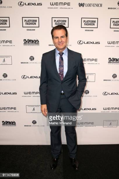 Vincent De Paul attends the Thomas Rath show during Platform Fashion January 2018 at Areal Boehler on January 28 2018 in Duesseldorf Germany