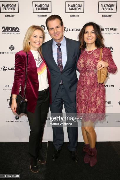 Vincent De Paul Sibel Brozat and Sevgi Schaefer attend the Thomas Rath show during Platform Fashion January 2018 at Areal Boehler on January 28 2018...