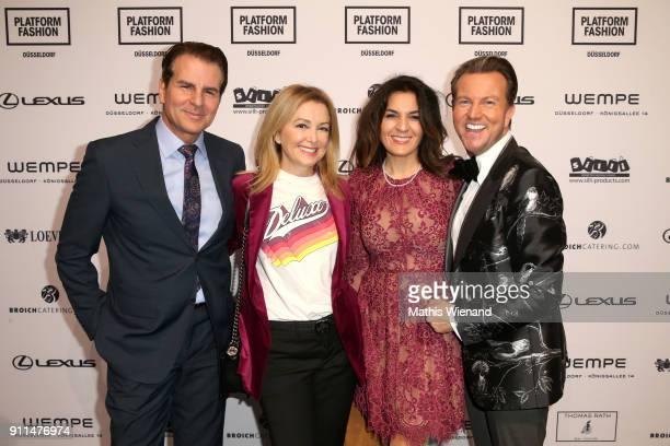 Vincent De Paul Sibel Brozat Sevgi Schaefer and Sandro Rath attend the Thomas Rath show during Platform Fashion January 2018 at Areal Boehler on...