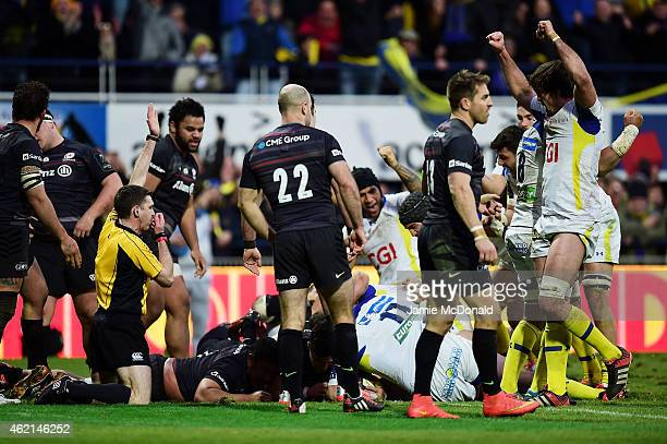 Vincent Debaty of Clermont scores his team's second try during the European Rugby Champions Cup Pool 1 match between Clermont Auvergne and Saracens...