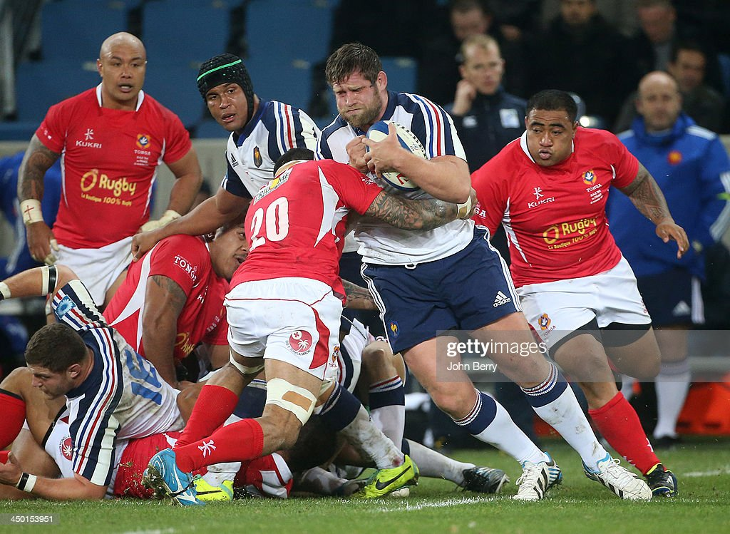 Vincent Debaty of France in action during the international match between France and Tonga at the Oceane Stadium on November 16, 2013 in Le Havre, France.