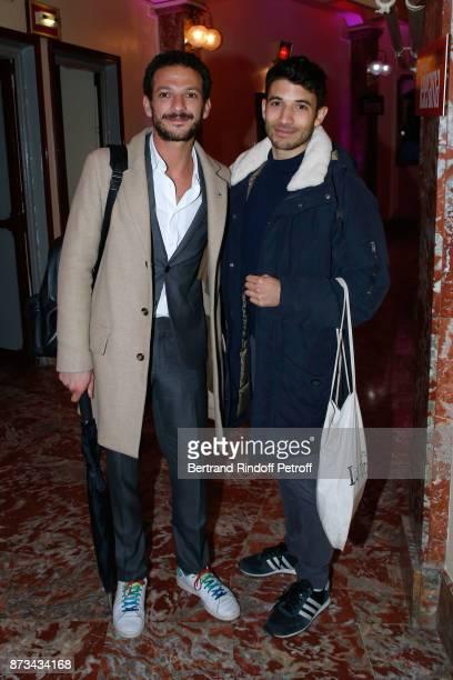Vincent Dedienne and Florent Gouelou attend 'Depardieu Chante Barbara' at 'Le Cirque D'Hiver' on November 12 2017 in Paris France