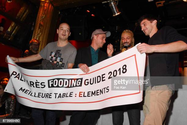 Vincent Dedienne Anthony Orjollet and his team from Elements Restaurant attend 'Les Fooding 2018' Cocktail at Les Follies Pigalle 11 Place Pigalle on...