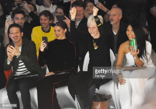 Vincent Dedienne Iris Mittenaere Tonie Marshall and singer Anggun attend the JeanPaul Gaultier Haute Couture Spring Summer 2018 show as part of Paris...