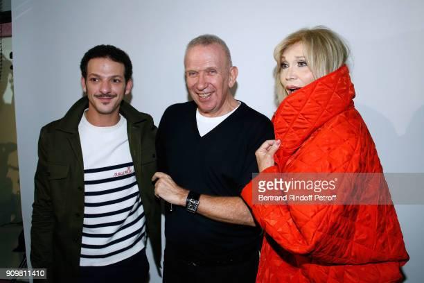 Vincent Dedienne Stylist JeanPaul Gaultier and Amanda Lear pose after the JeanPaul Gaultier Haute Couture Spring Summer 2018 show as part of Paris...