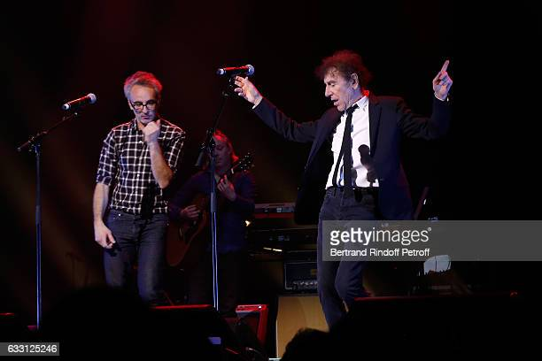 Vincent Delerm and Alain Souchon perform during the Charity Gala against Alzheimer's disease at Salle Pleyel on January 30 2017 in Paris France