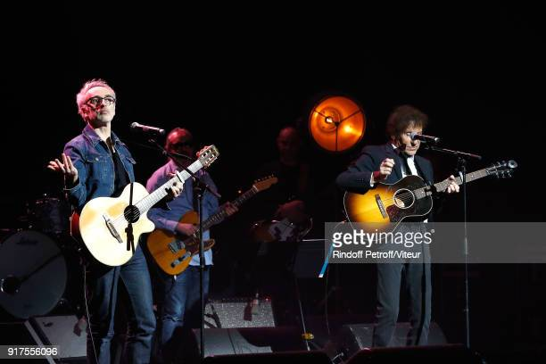 Vincent Delerm and Alain Souchon perform during the Charity Gala against Alzheimer's disease at Salle Pleyel on February 12 2018 in Paris France