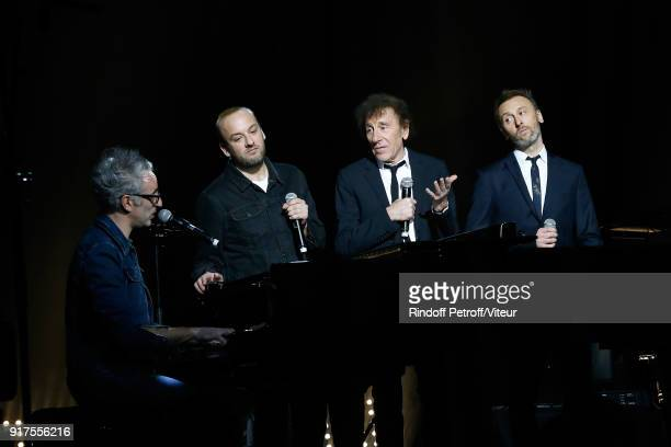 Vincent Delerm Charles 'Ours' Souchon Alain Souchon and Pierre Souchon perform during the Charity Gala against Alzheimer's disease at Salle Pleyel on...