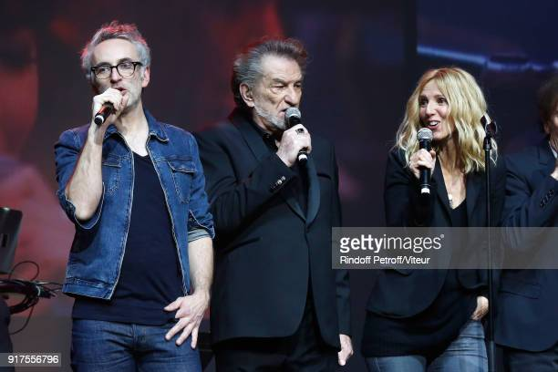 Vincent Delerm Eddy Mitchell and Sandrine Kiberlain perform during the Charity Gala against Alzheimer's disease at Salle Pleyel on February 12 2018...