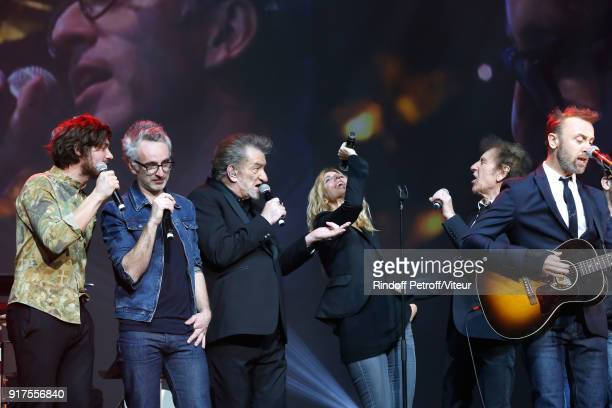 Vincent Delerm Eddy Mitchell Sandrine Kiberlain Alain Souchon and Pierre Souchon perform during the Charity Gala against Alzheimer's disease at Salle...