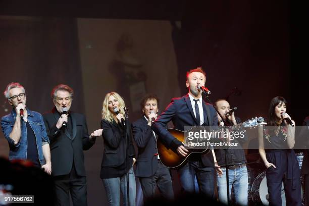 Vincent Delerm Eddy Mitchell Sandrine Kiberlain Alain Souchon Pierre Souchon Charles 'Ours' Souchon and Nolwenn Leroy perform during the Charity Gala...