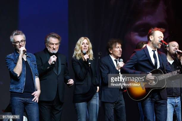 Vincent Delerm Eddy Mitchell Sandrine Kiberlain Alain Souchon Pierre Souchon and Charles 'Ours' Souchon perform during the Charity Gala against...