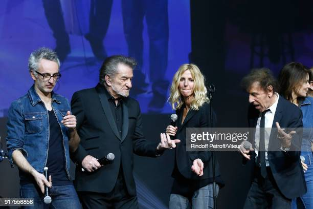 Vincent Delerm Eddy Mitchell Sandrine Kiberlain and Alain Souchon perform during the Charity Gala against Alzheimer's disease at Salle Pleyel on...