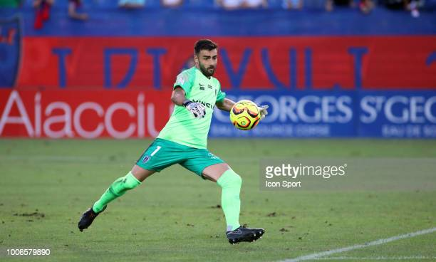 Vincent Demarconnay of Paris FC during the Ligue 2 match between Gazelec Ajaccio and Paris FC at Stade Ange Casanova on July 27 2018 in Ajaccio France