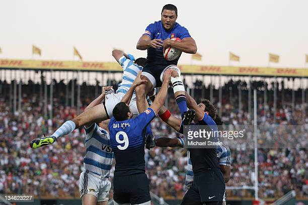 Vincent Deniau of France claims the ball at a line out during the Cup Semi Final match between Argentina and France during Day Three of the IRB Dubai...