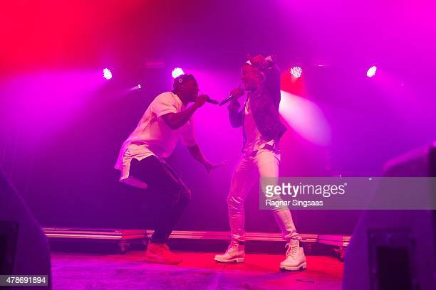 Vincent Dery and Kahouly Nicolay of Nico and Vinz perform onstage during the second day of the Bravalla Festival on June 26, 2015 in Norrkoping,...