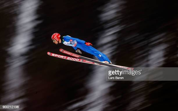 Vincent Descombes Sevoie of France competes on day 2 of the FIS Nordic World Cup Four Hills Tournament ski jumping event on December 29 2017 in...