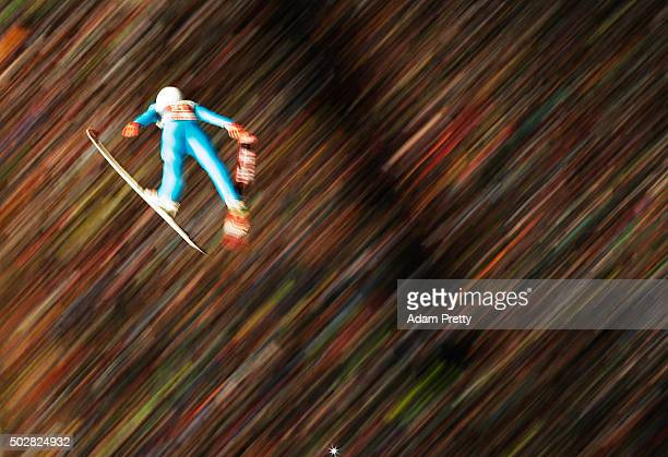Vincent Descombes Sevoie of France soars through the air during his 1st round jump on Day 2 of the 64th Four Hills Tournament on December 29 2015 in...