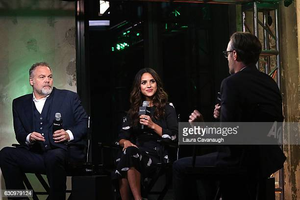 "Vincent D'Onofrio and Adria Arjona attend Build Presents to discuss ""Emerald City"" at AOL HQ on January 4, 2017 in New York City."