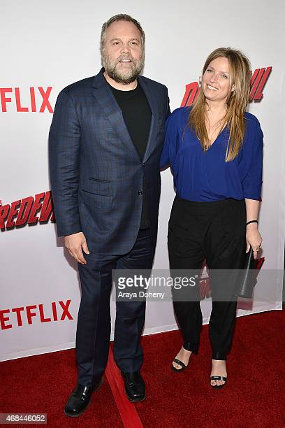 Vincent D'Onofrio and Carin van der Donk attend the Netflix New Original Series Marvel's Daredevil Los Angeles Premiere at Regal Cinemas LA Live on...