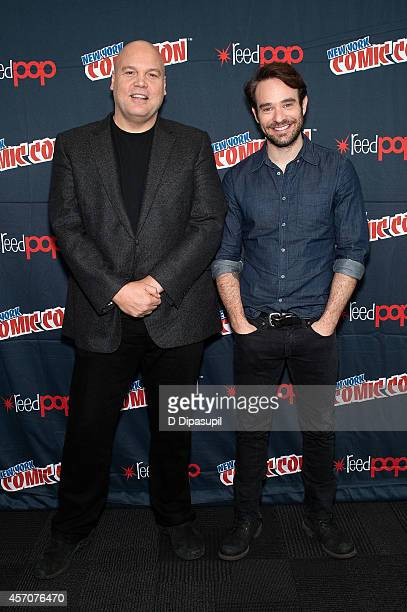 Vincent D'Onofrio and Charlie Cox attend the Netflix Original Series Marvel's Daredevil New York ComicCon Panel Cast Signing at the Javits Center on...