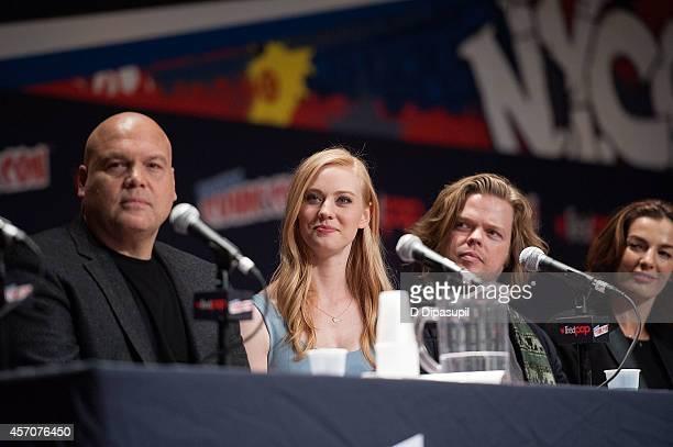 Vincent D'Onofrio Deborah Ann Woll Elden Henson and Ayelet Zurer attend the Netflix Original Series Marvel's Daredevil New York ComicCon Panel Cast...