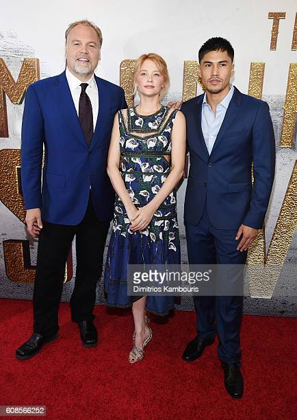 Vincent D'Onofrio Haley Bennett and Martin Sensmeier attend The Magnificent Seven premiere at Museum of Modern Art on September 19 2016 in New York...