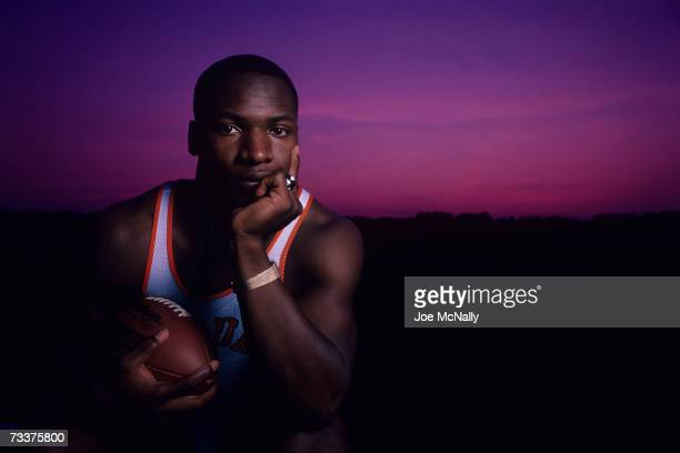 Vincent Edward 'Bo' Jackson poses for a photo at sunset on a summer evening August 1984 in Aurburn Alabama Jackson an American multisport...