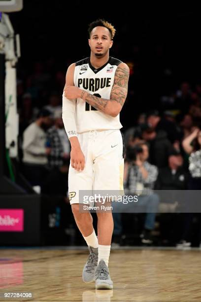 Vincent Edwards of the Purdue Boilermakers reacts against the Penn State Nittany Lions during the semifinals of the Big Ten Basketball Tournament at...