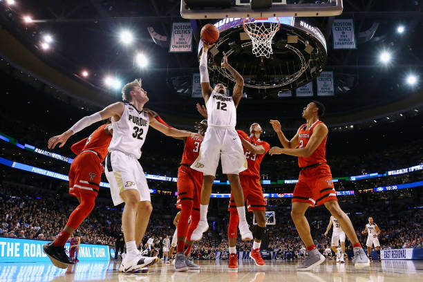 Vincent Edwards of the Purdue Boilermakers shoots the ball during the first half against the Texas Tech Red Raiders in the 2018 NCAA Men's Basketball...