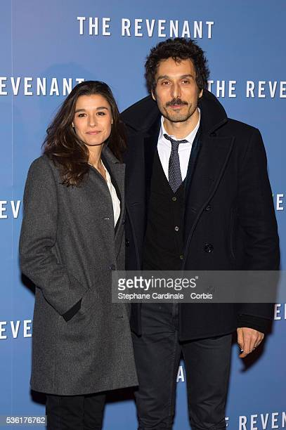 Vincent Elbaz and Fanny Conquy attend 'The Revenant' Premiere at Le Grand Rex on January 18, 2016 in Paris, France.