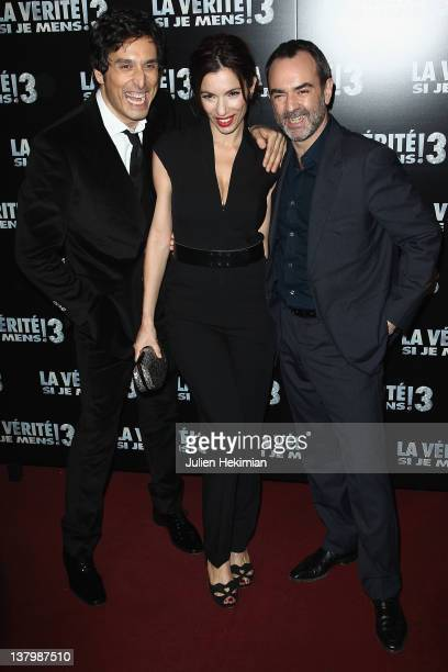 Vincent Elbaz Aure Atika and Bruno Solo attend 'La Verite Si Je Mens 3' Paris premiere at Le Grand Rex on January 30 2012 in Paris France