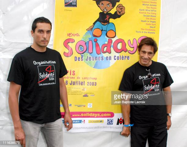 Vincent Elbaz Gerard Lanvin during 2003 Solidays Festival Celebrities Against Aids at Hippodrome de longchamp in Paris France