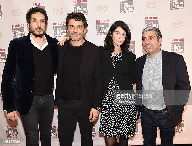 Vincent Elbaz Pascal Elbe Zabou Bieitman and Isaac Sharry attend 2015 In French With English Subtitles NY Film Festival Opening Night at Florence...