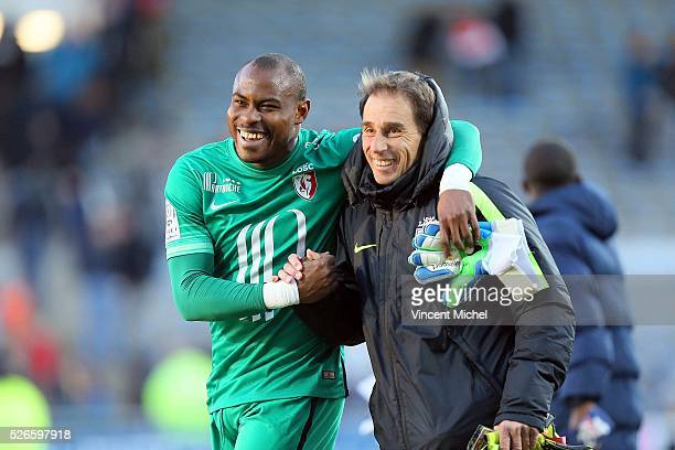 Vincent Enyeama of Lille celebrates at the end of the French Ligue 1 match between Fc Lorient and Lille OSC at Stade du Moustoir on April 30, 2016 in...
