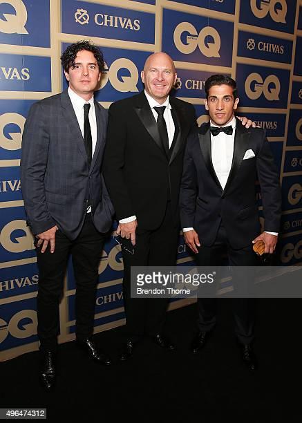 Vincent Fantauzzo, Matt Moran, Firass Dirani arrives ahead of the 2015 GQ Men Of The Year Awards on November 10, 2015 in Sydney, Australia.