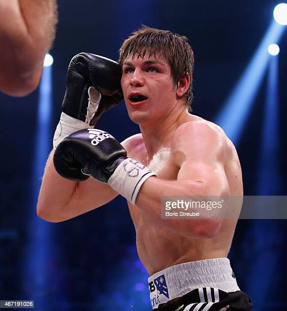 Vincent Feigenbutz of Germany in action during his WBO intercontinental super middleweight championship fight against Balazs Kelemen of Hungary at...