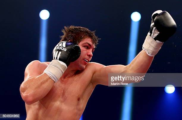 Vincent Feigenbutz of Germany in action during the WBA SuperMiddleweight championship title fight at Baden Arena on January 9 2016 in Offenburg...