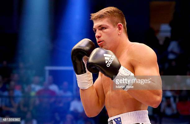 Vincent Feigenbutz of Germany in action during the WBA interim super middleweight championship fight at Gerry Weber Stadium on July 18 2015 in Halle...