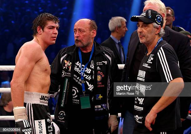 Vincent Feigenbutz of Germany looks dejected after losing the WBA SuperMiddleweight championship title fight at Baden Arena on January 9 2016 in...