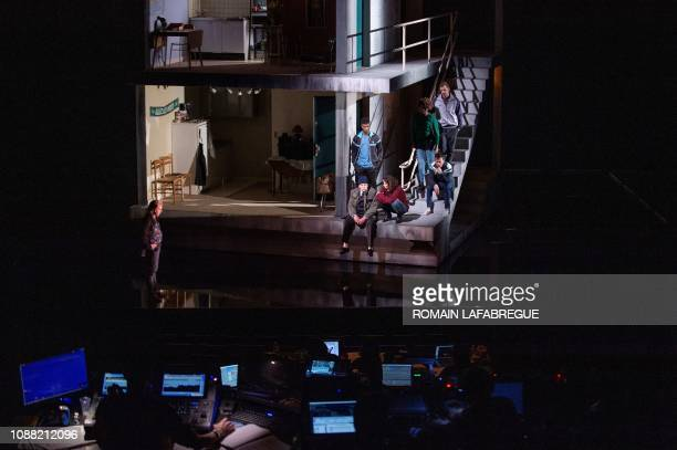 Vincent Garanger Philippe Torreton Frederico Semedo Rachida Brakni Benedicte Mbemba Maurin Olles and Riad Gahmi perform during a rehearsal of J'ai...